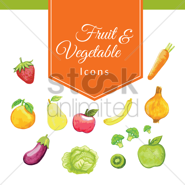 collection of fruit and vegetables icons vector graphic