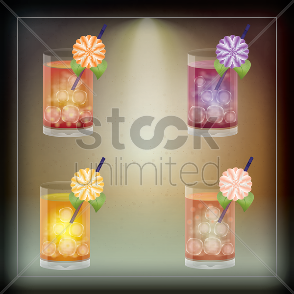 collection of fruit cocktails vector graphic