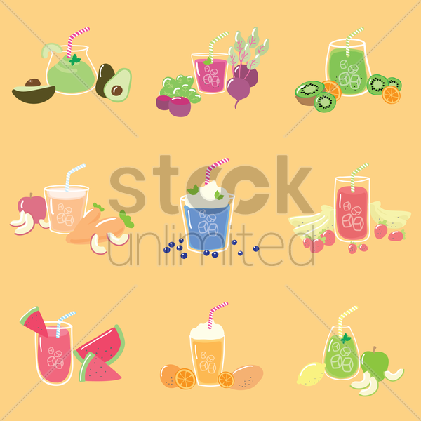 collection of fruit juice vector graphic