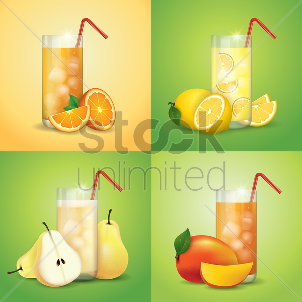 collection of fruit juices and slices vector graphic