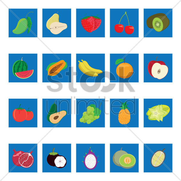 collection of fruits vector graphic