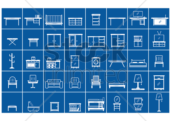 collection of furniture vector graphic