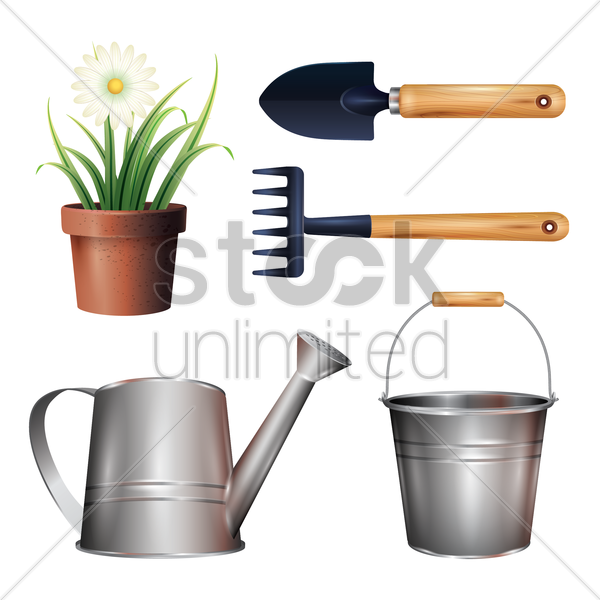 collection of gardening icons vector graphic