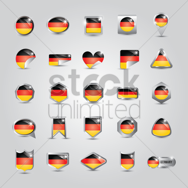 collection of germany flag icons vector graphic