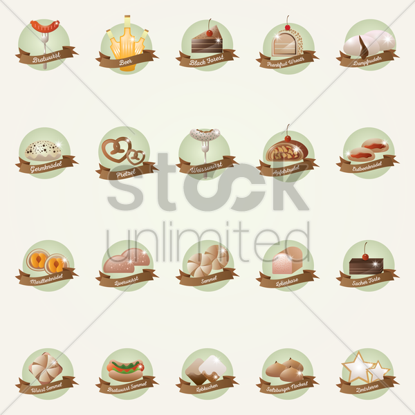collection of germany food icons vector graphic