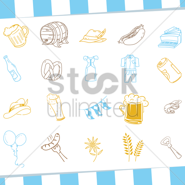 collection of germany icons vector graphic