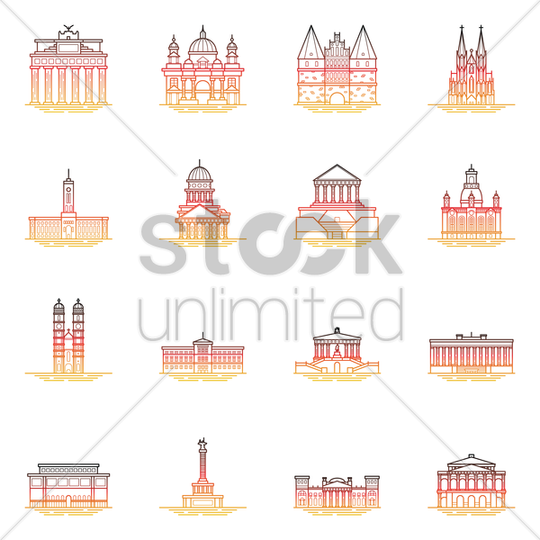 collection of germany landmarks vector graphic