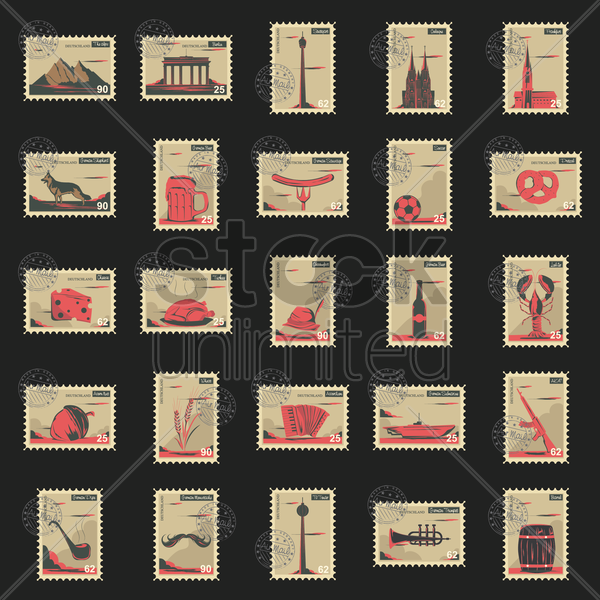 collection of germany postage stamps vector graphic