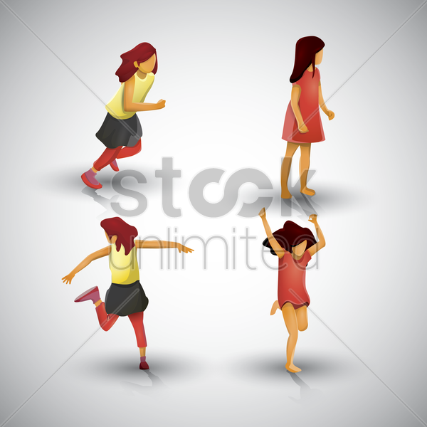 collection of girls doing various actions vector graphic