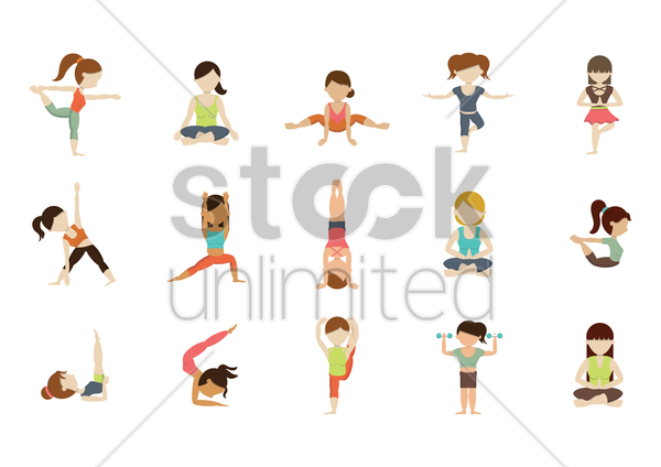 collection of girls practicing yoga vector graphic
