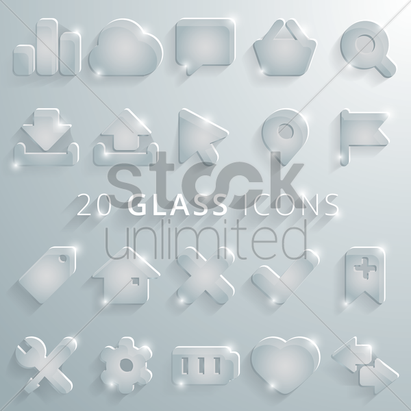 collection of glass icons vector graphic