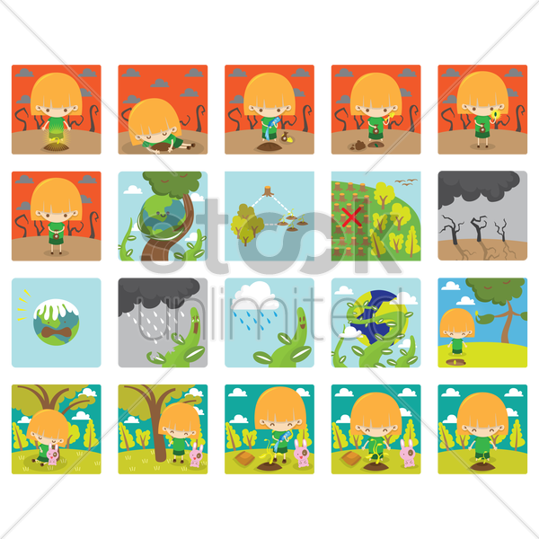 collection of global warming vector graphic