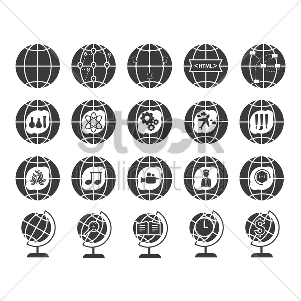 collection of globe icons vector graphic