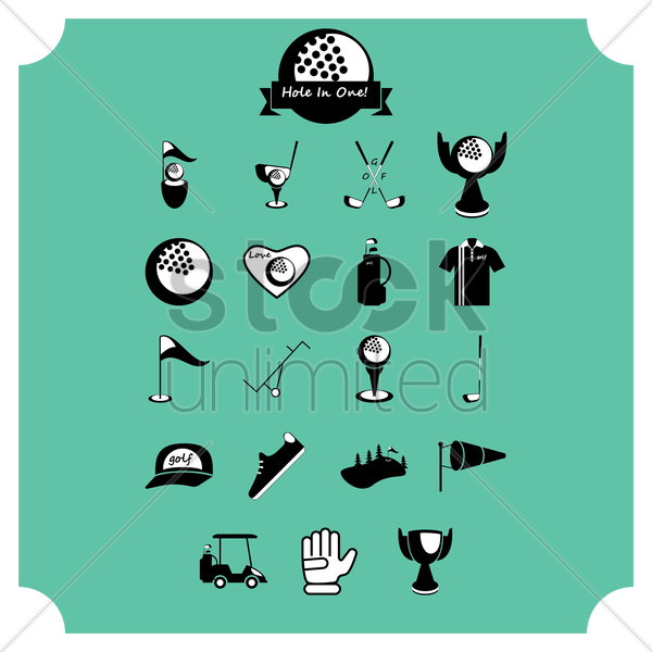 collection of golf equipment vector graphic