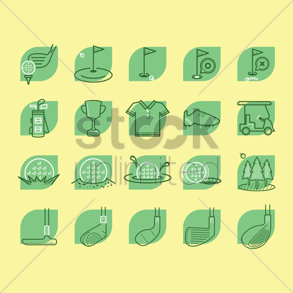 collection of golf icons vector graphic