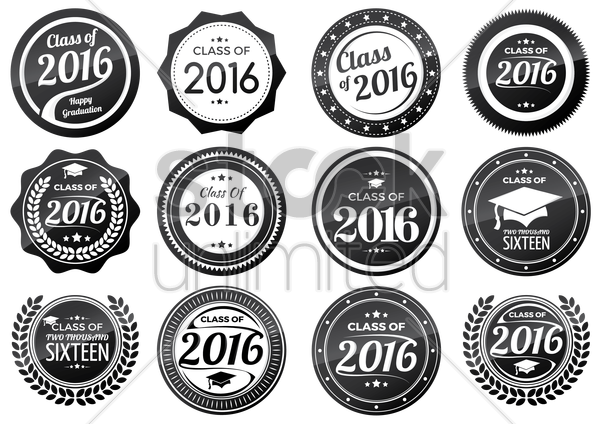 collection of graduation labels vector graphic