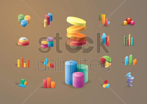 collection of graphs vector graphic