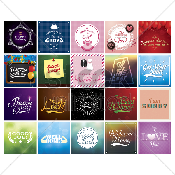 collection of greeting cards vector graphic