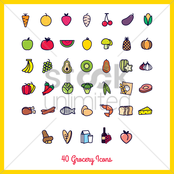 collection of grocery icons vector graphic