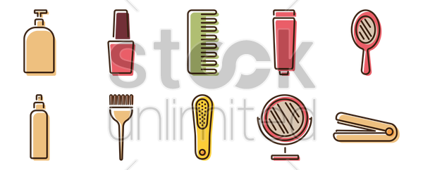 collection of grooming items vector graphic