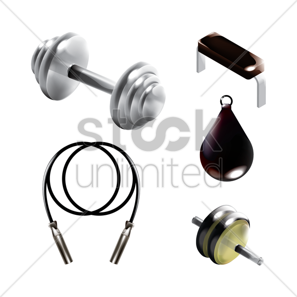 collection of gym equipment vector graphic
