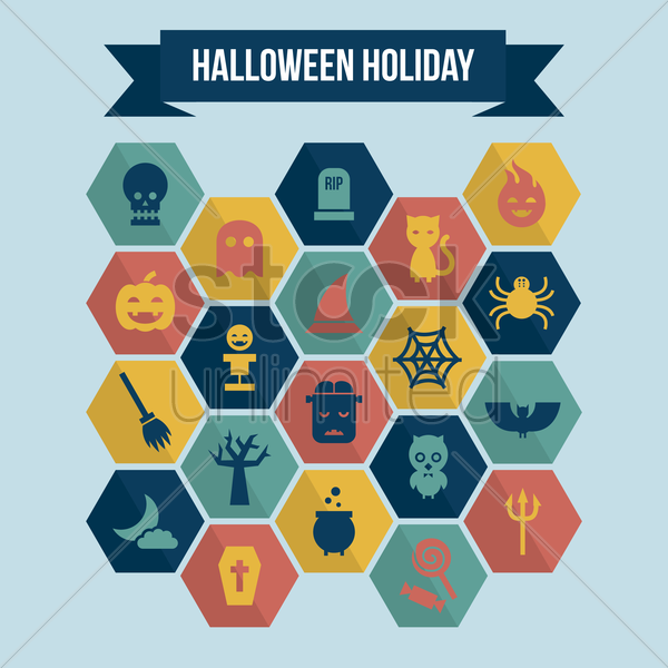 collection of halloween holiday icons vector graphic