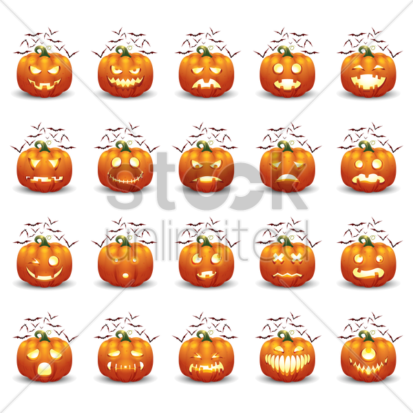 collection of halloween pumpkin and bats vector graphic
