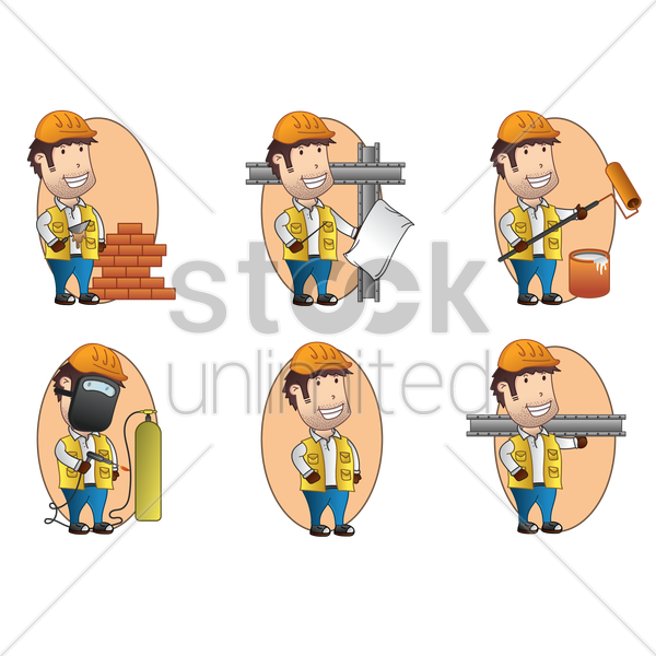 collection of handymen vector graphic