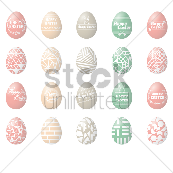 collection of happy easter design vector graphic