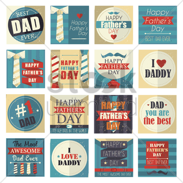 collection of happy father's day cards vector graphic
