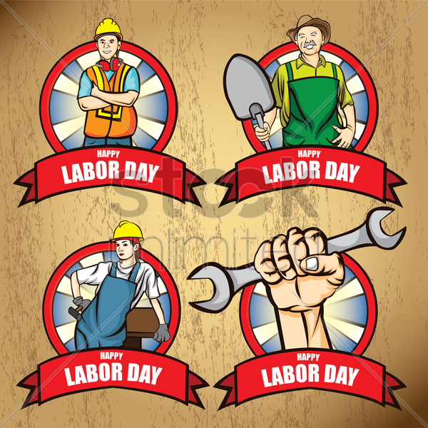 collection of happy labor day posters vector graphic