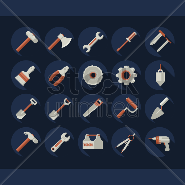 collection of hardware tool vector graphic
