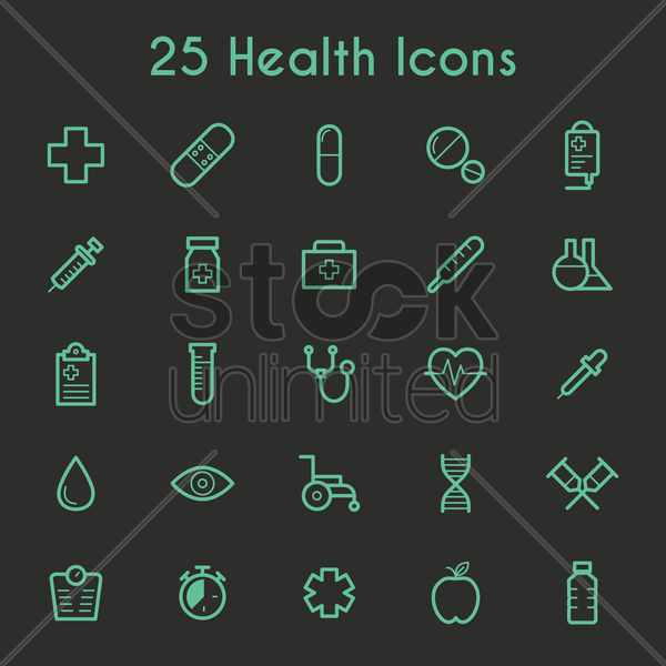 collection of health icons vector graphic