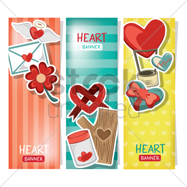 collection of heart banner vector graphic
