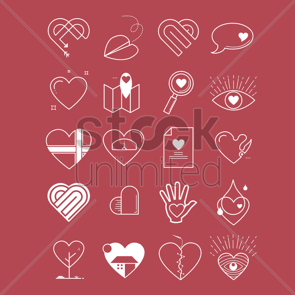 collection of heart designs vector graphic