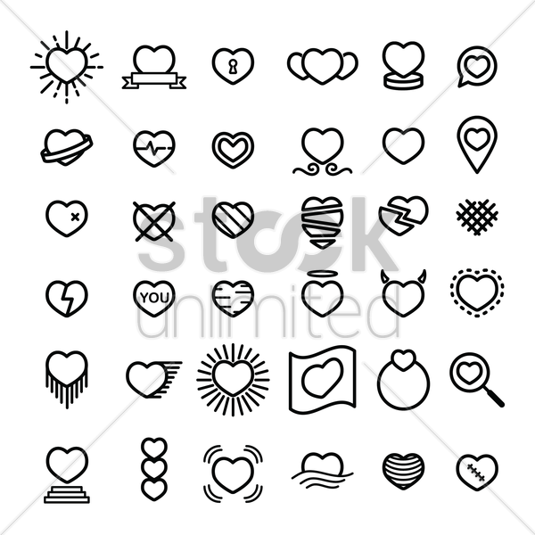 collection of heart icons vector graphic