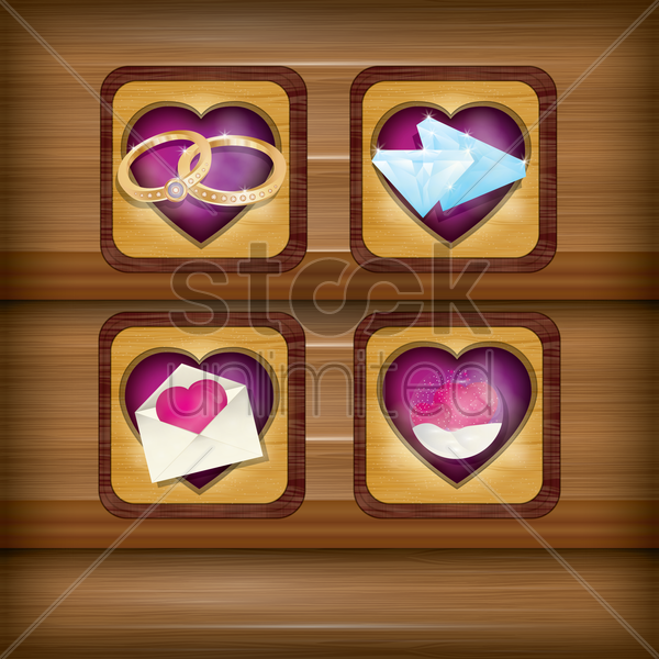 collection of heart items vector graphic