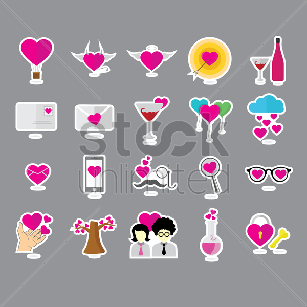 collection of heart related objects vector graphic