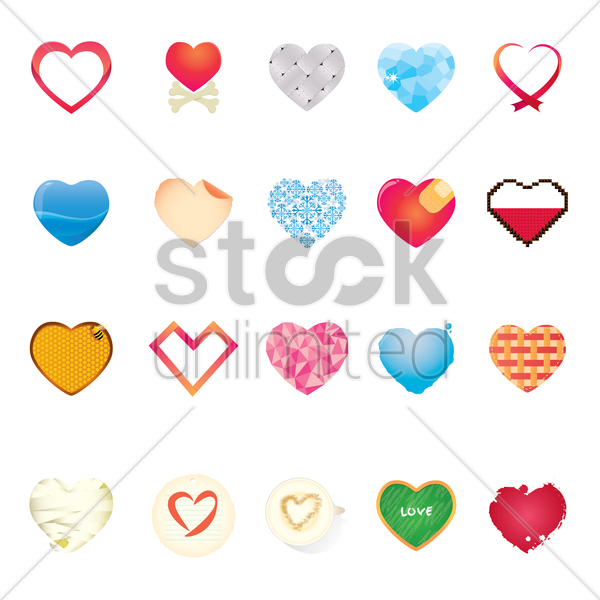 collection of hearts vector graphic