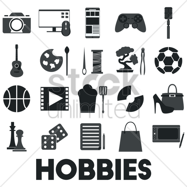 collection of hobby icons vector graphic