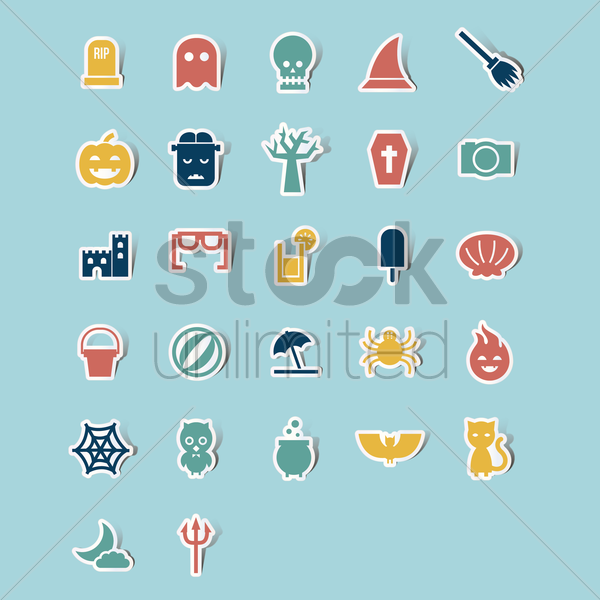 collection of holiday icons vector graphic