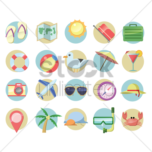 collection of holiday objects vector graphic