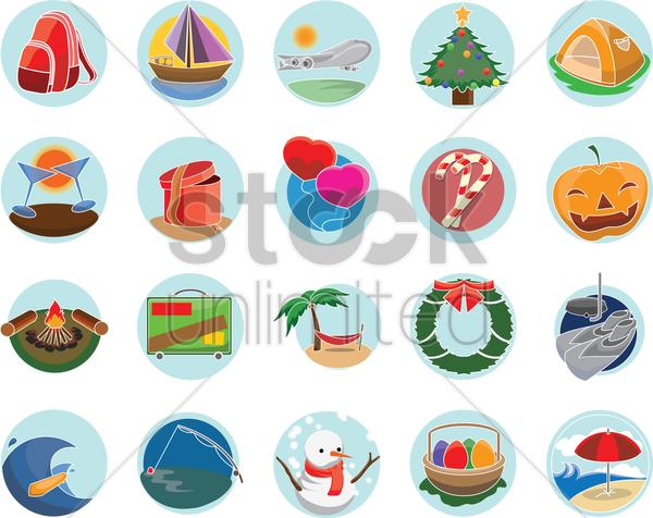 collection of holiday related things vector graphic