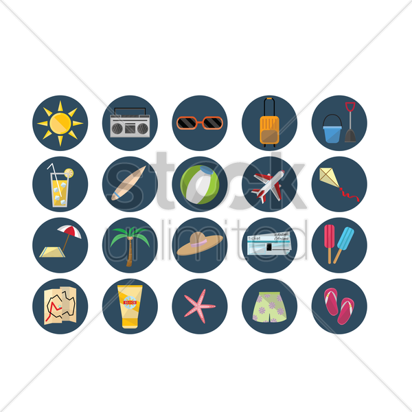 collection of holiday travel icons vector graphic