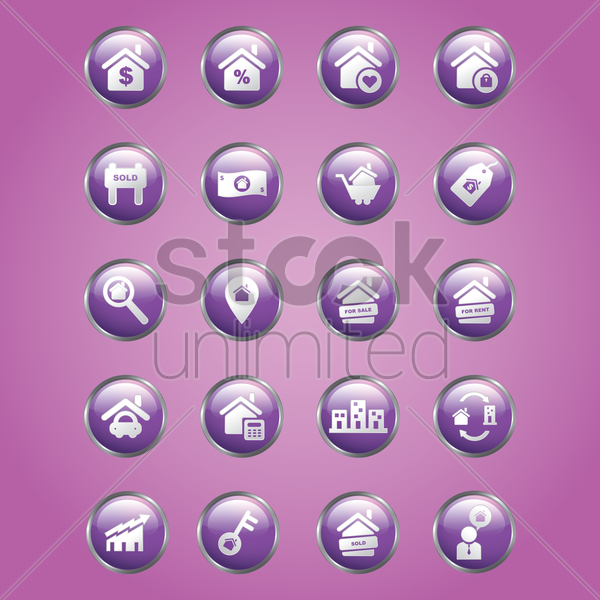 collection of home icons vector graphic