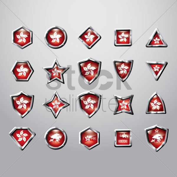collection of hong kong flag icon vector graphic