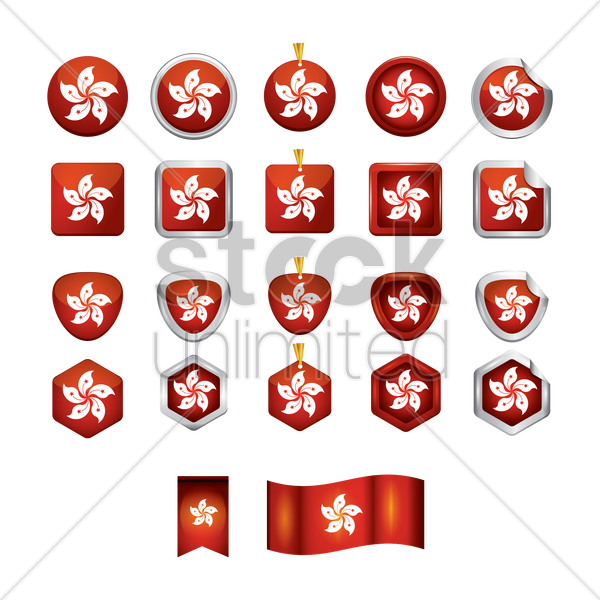 collection of hong kong flag icons vector graphic