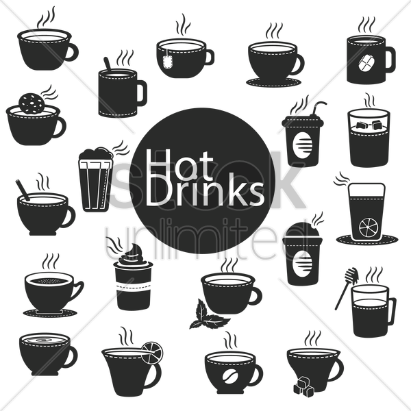 Free collection of hot drinks vector graphic
