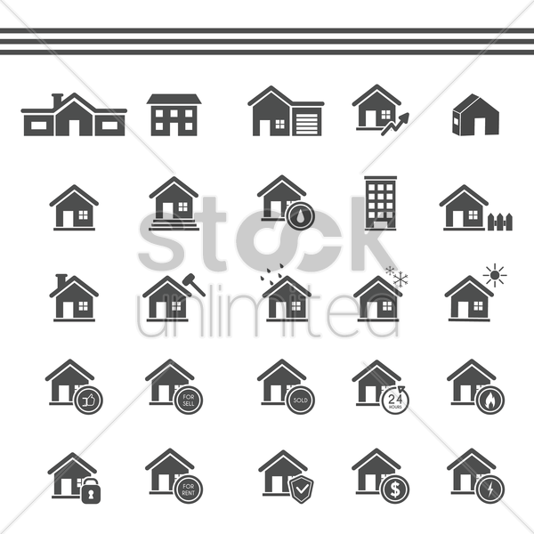 collection of house icons vector graphic