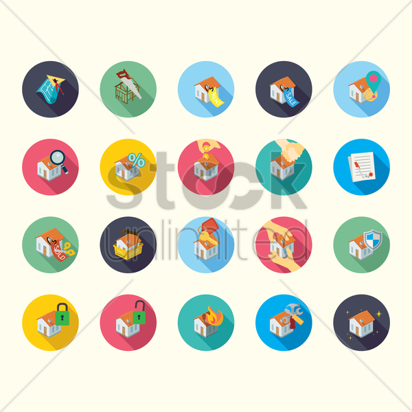 Free collection of house related icons vector graphic
